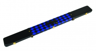 Black & Royal Blue Small Diamond Pattern ¾ Leather Snooker Cue Case