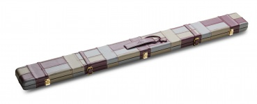 Black & Grey Block Pattern ¾ Leather Snooker Cue Case