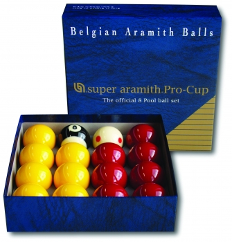 Super Aramith Pro Cup English Pool Balls (Reds & Yellows with 47.5mm White) 51mm