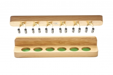 Oak Wall Mounted Cue Rack Brass Clips For 6 Cues