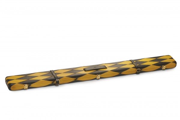 Full Diamond Pattern Black & Yellow ¾ Leather Snooker Cue Case
