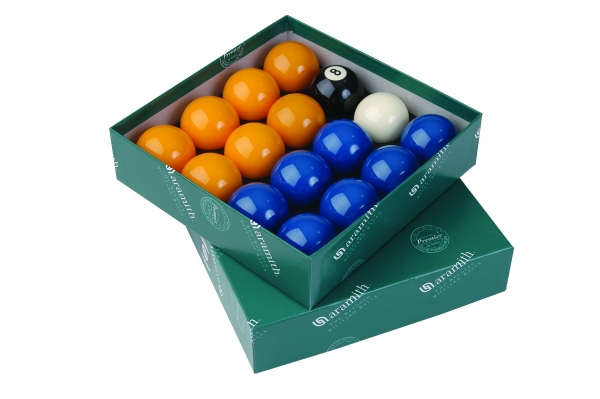 Aramith Premier League Pool Balls 51mm (Blue & Yellows with 47.5mm white)